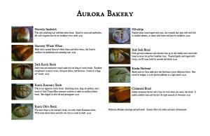 Aurora Bakery Menu 4-10-09